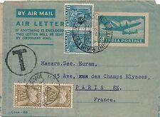 Madras Entier Postal India Timbre Taxe pour la France Cover