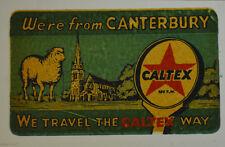 ORIGINAL VINTAGE CALTEX OIL DECAL CANTERBURY ENGLAND AUTO TRUCK CAR OLD WAGON RV