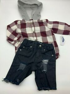 Old Navy / Cat & Jack Boy Outfit Sz 6-12M Hoodie Shirt & Jeans Ripped Cut Off