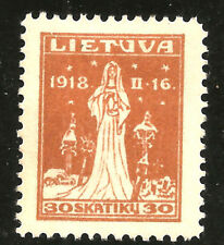 "Lithuania;Sc. # 73,Mi.# 68; PLATE ERROR; MISSING ""ROOF"" ON THE RIGHT CROSS; MH;"