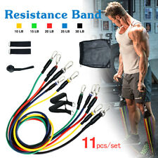 Resistance Bands 11pcs Set Yoga Pilates Abs Exercise Fitness Workout Tube Kit US