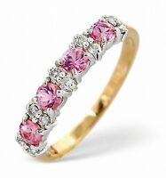 Eternity Ring Pink Sapphire and Diamond Yellow Gold Anniversary Band Size F - Z