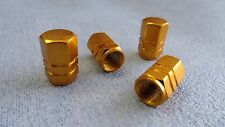 SUBARU GOLD METAL DUST VALVE CAP TYRE WHEEL SOLID HEXAGON COVER