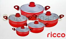 INDUCTION COOKWARE 5PC NON STICK CERAMIC COATED DIE-CAST CASSEROLE SET RED -R