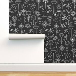 Wallpaper Roll Mod Doodle Blooms Black and White 24in x 27ft