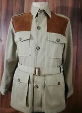 Vtg Woolrich Safari Belted Shooting Jacket Tan Bush Coat Military Epaulets,