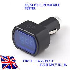 Digital LED 12V/24V enchufe voltimetro para Auto-Camión-Autocaravana-Reino Unido Stock