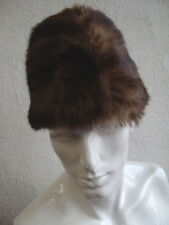 "NEW BROWN MUSKRAT FUR HAT CAP ""BOAT STYLE"" MEN MAN SIZE FROM 23"" TO 24"""