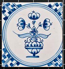Kachel (Keramische Tegel) - Blumenvase - blau weiß - 18./19.Jh