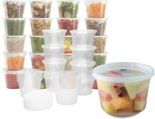 Plastic Food Storage Containers with Lids - Restaurant Deli Cups/Great 16 oz
