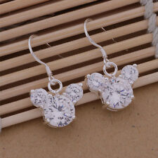 AE351 Free shipping Fashion Lovely Mickey Head Solid Silver Earrings + gift bag