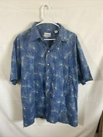 Reyn Spooner Men's Short  Sleeve Blue Floral Size XL Button Down Camp Shirt