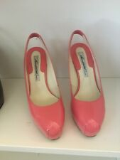 Brian Atwood Womens Leather Platform Slingback Pumps Pink Size 7