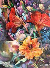 KANAYO EDE , Huge Original Oil on Canvas, Flowers Still Life, Signed