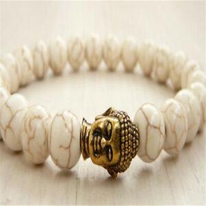 8mm Howlite Gemstone Buddha head Mala Bracelet Lucky Tibet silver Buddhism