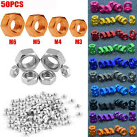 50PCS M3 M4 M5 M6 Bolt Hex Screw Nuts 11 Colours Craft Aluminum DIY Hardware Nut