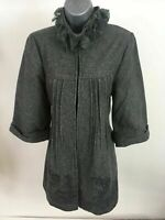 WOMENS CHILLI COUTURE GREY LACE RUFFLED NECK TAILORED COAT SIZE UK 10