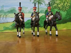 TROPHY OF WALES: H6 THREE NAPOLEONIC MOUNTED TROOPERS, 4TH REGT. HUSSARS - RARE!