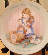 """1988 Vtg Avon 5"""" Mother's Day China Plate """"A Mother's Work Is Neve done"""" Xlnt"""