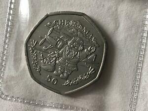 1996 Gibraltar 'Santa with Biplane' Christmas 50p Coin (VF/EF)