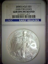 2008 UNITED STATES SILVER EAGLE NGC GEM UNCIRCULATED EARLY RELEASES BLUE LABEL,