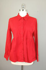 Art and Soul red 100% cotton button front long sleeve shirt top blouse sz M