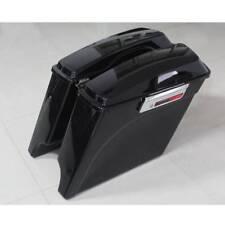 "5"" Vivid Black Stretched Extended Hard Saddlebags For 93-13 Harley Touring 93-13"