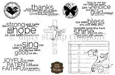 Unity Stamp Cling Rubber Stamp Set FAITH Give Thanks, Let's Rejoice, Bless You