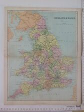 England & Wales, With Railways, 1861 Antique Map, Hughes, Atlas