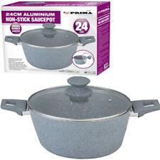 24CM FRYING PAN SAUCEPOT WITH GLASS LID MARBLE COATING NON STICK KITCHEN GREY