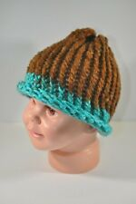 Chocolate Brown & Blue Hand Knit Hat Beanie Toddler Child 100% Acrylic