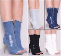LADIES WOMENS DISTRESSED DENIM ANKLE RIPPED SEXY STYLE BOOTS SIZE 3 4 5 6 7 8
