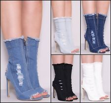 Ladies Women High Stiletto Heel Ankle Cutout Mid Calf Peep toe Denim Boots Shoes