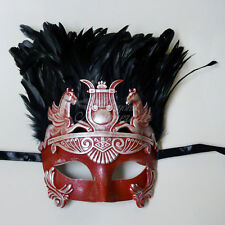 Hercules Roman Venetian Masquerade Mask for Men Feather Silver/Red M33196