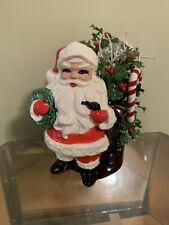 Vintage Mid Century Santa Claus Christmas Planter With Pipe