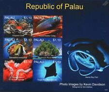 Sea Marine Life (Eagle Ray/Medusa Worm/Bannerfish) Stamp Sheet (2013 Palau)