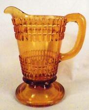Double Beetle Band Creamer Amber Early American Pattern Glass Columbia Climax