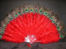 "MARABOU FEATHER FAN - RED w/ Peaock 24"" x 14"" Sexy/Burlesque/Costume/Halloween"