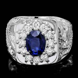 Amazing Dragon Design With Royal Blue Sapphire & White CZ Men's Fashion Ring