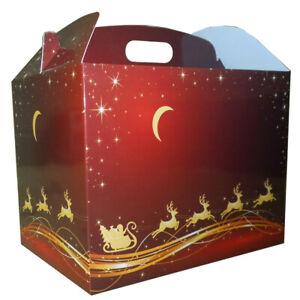 10 x RED GOLD SANTA REINDEER CHRISTMAS LARGE GABLE GIFT BOXES - XMAS Gift Hamper