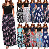 Women's Summer Cold Shoulder Floral Print Elegant Maxi Long Dress with Pocket