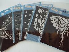 Schablonen Deko Stencil Malschablonen Tiere Ornamente Set 5 Stück