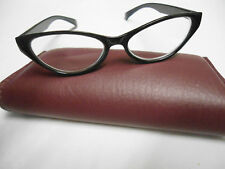 Black Cat-Eye Frames Non-Prescription Marked +2.00 China