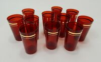 Vintage Set Of 10 Ruby Red Glass Tumblers with Gold Trim Glasses 9 Oz