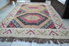 Large Kilim Rug Indian Hand Knotted Hexagon Geometric 150x210cm 5x7ft Jute Wool