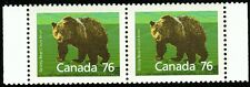 Canada sc#1178a Wildlife - Mammals : Grizzly Bear, Pair from Booklet, Mint-Nh