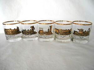 5 GALAXY ANTIQUE TRAIN LOCOMOTIVE LOW BALL DRINKING GLASS TUMBLERS GOLD & BLACK