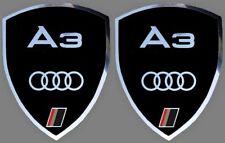 2 adhésifs sticker noir chrome AUDI A3   (idéal ailes avant)