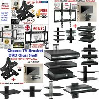 "TV Wall Bracket Fixed/Tilt/Swivel LCD LED 10 - 70"" & 1/2/3 Tiers DVD Glass Shelf"