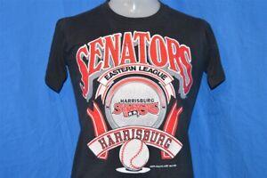 vintage 90s HARRISBURG PA SENATORS BLACK 50/50 t-shirt BASEBALL YOUTH MEDIUM YM